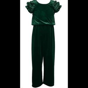 Girls Green crushed velvet ruffle sleeve jumpsuit